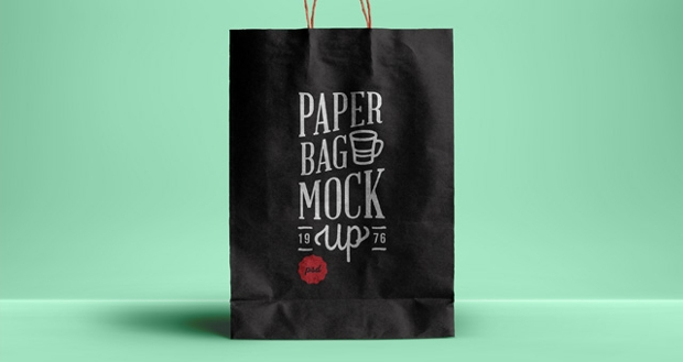 Black PSD Paper Bag Mockup