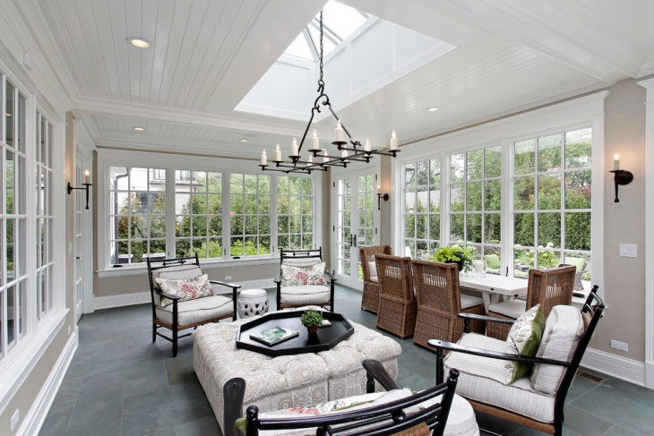 chandelier sunroom idea