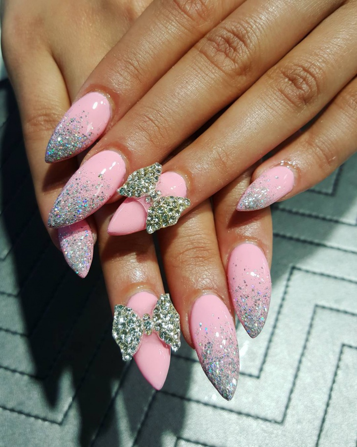 Crystal Bow Nail Design