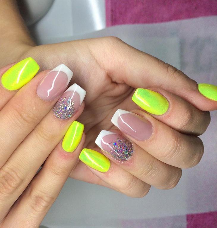 Yellow Crystal Nail Design
