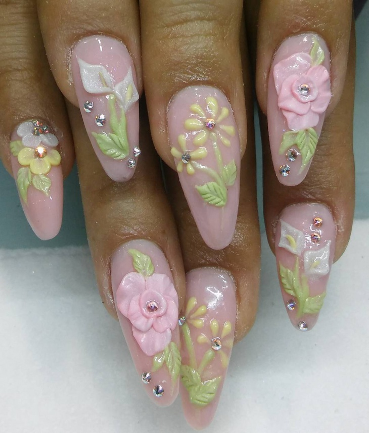 fancy crystal nail art idea