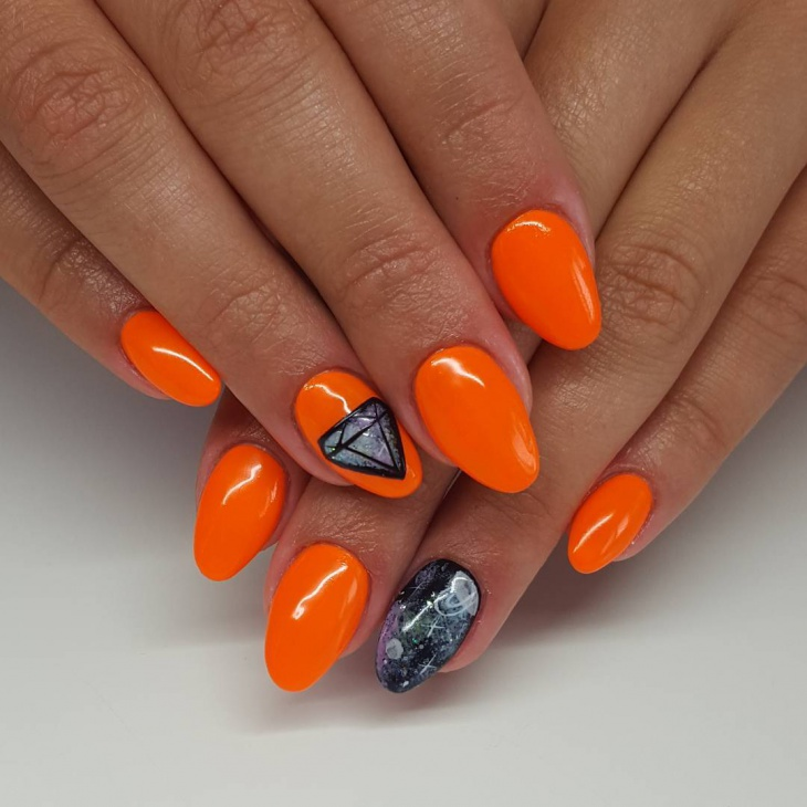 orange diamond nail design