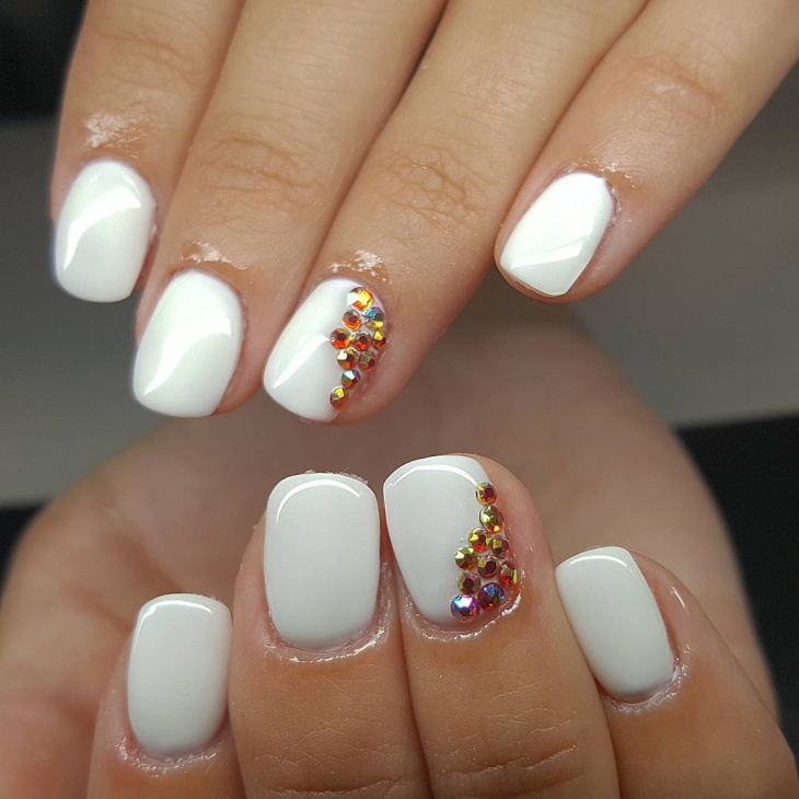 white crystal nail design