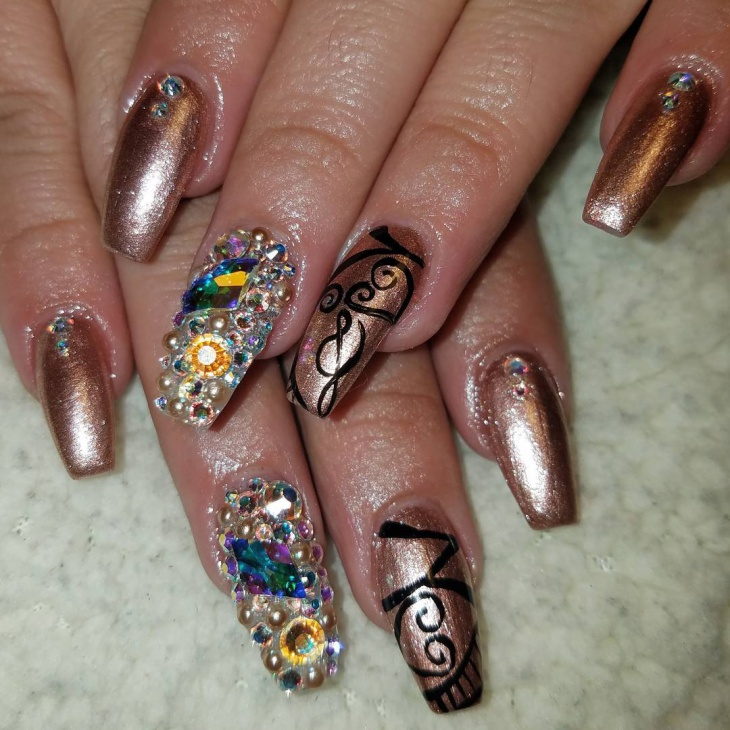 glitter brown crystal nails