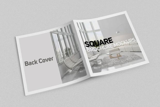 square brochure psd mockup