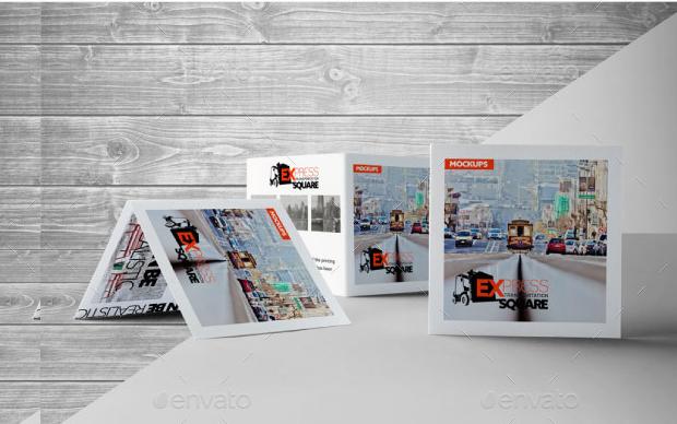 bi fold square brochure mockup