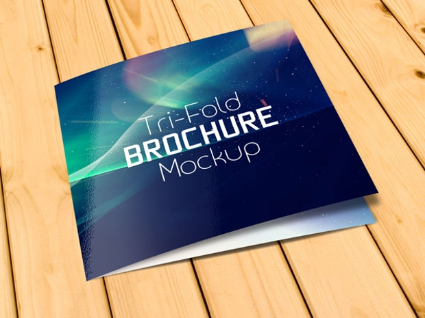 free square tri fold brochure mockup