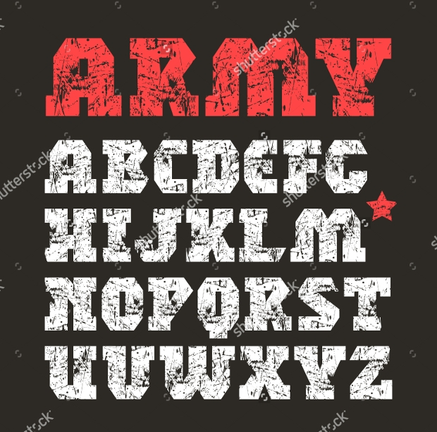 military geometric display font