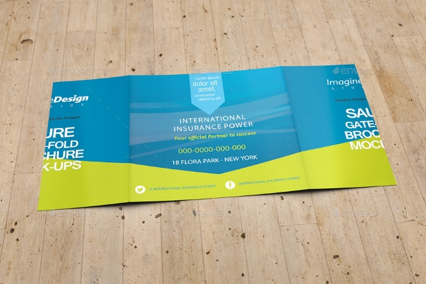blue square fold brochure mockup
