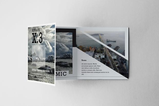 tri fold square brochure mockups