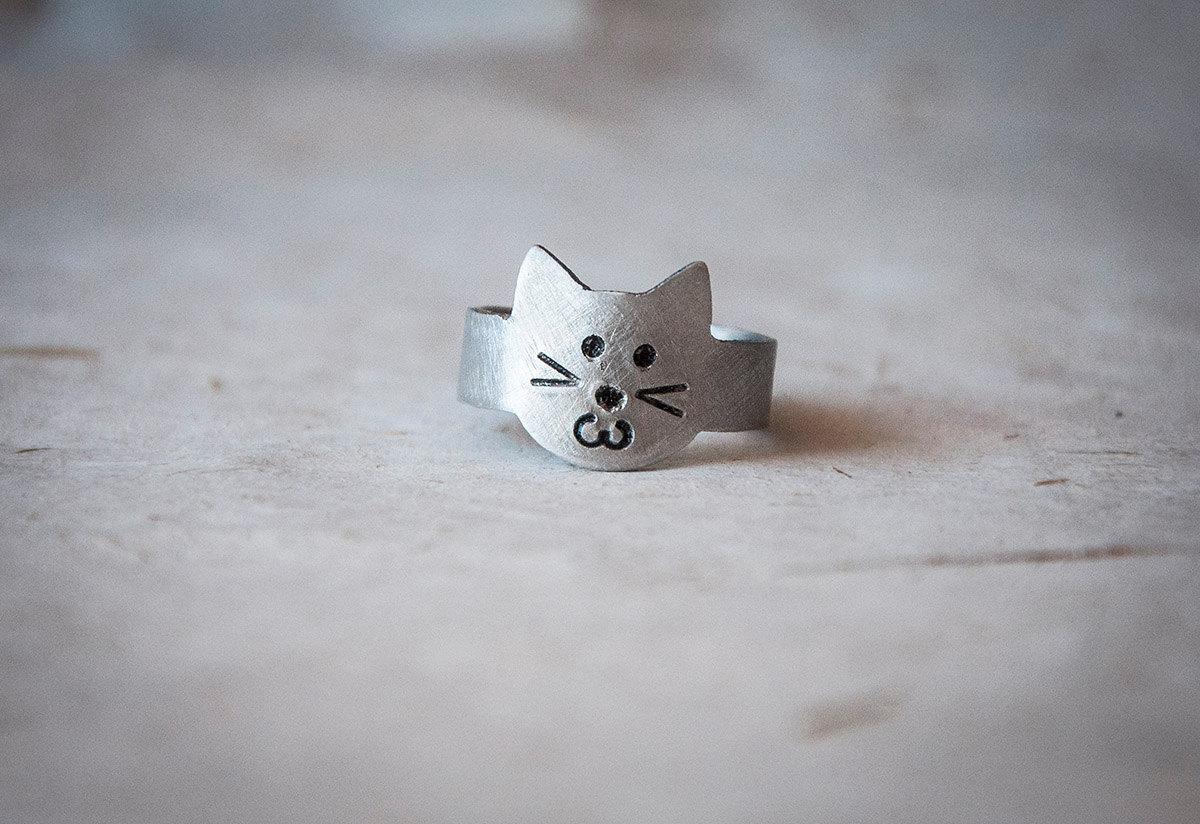 kitty cat animal ring design