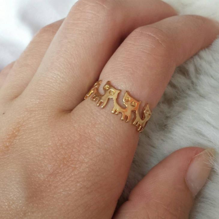 unique cat animal ring