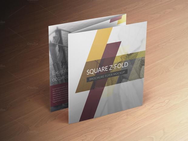 square z fold brochure mockup