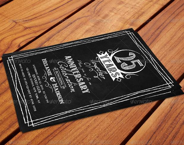 Chalk Board Anniversary Invitation