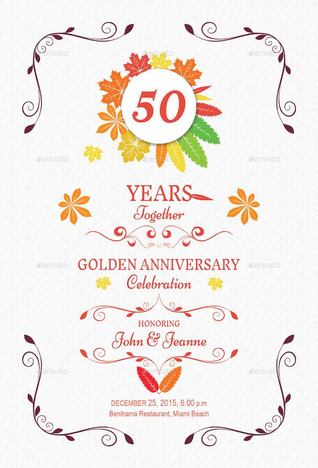 Simple Autumn Anniversary Invitation