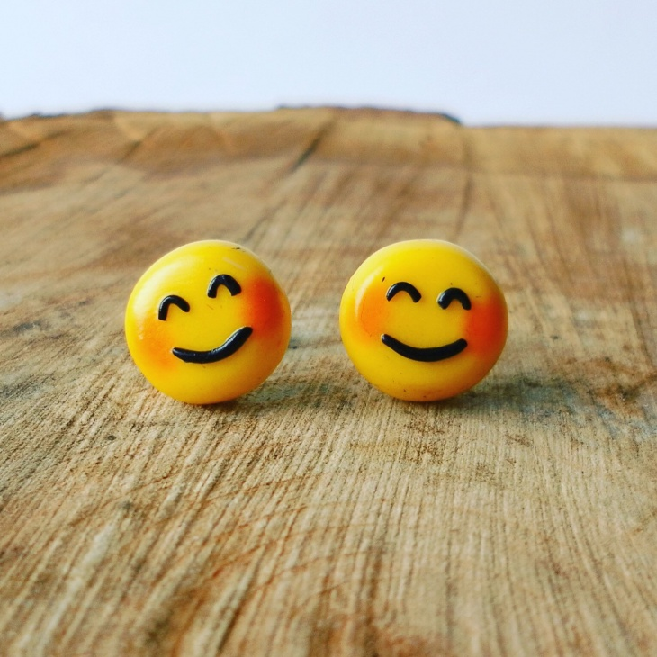 cute emoji studs jewelry design