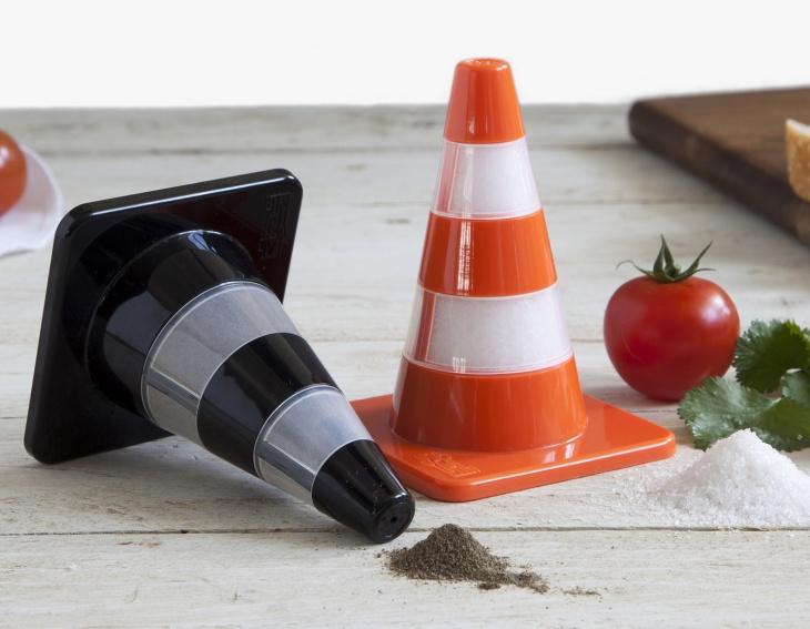 traffic cone salt and pepper shaker