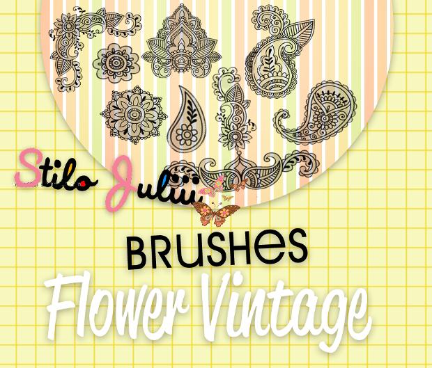 paisley flower brushes set