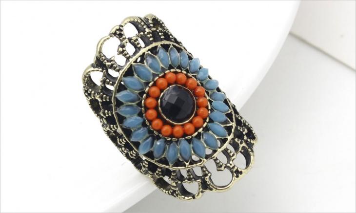 boho flower ring