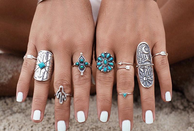 boho silver punk ring