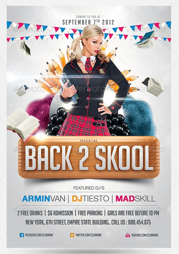 Back To School Flyer Templates  Printable Psd Ai Vector Eps
