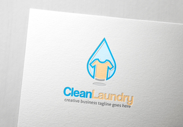 clean laundry logo template design