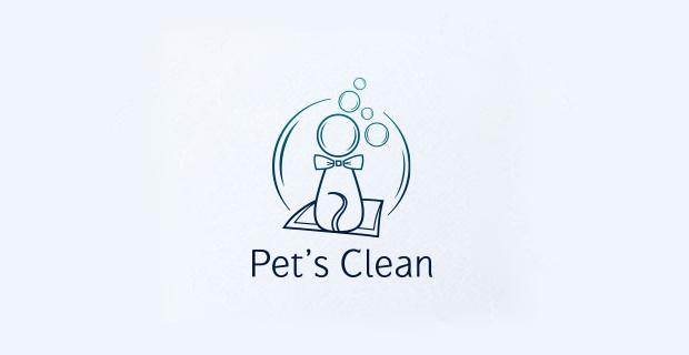 pets clean logo design