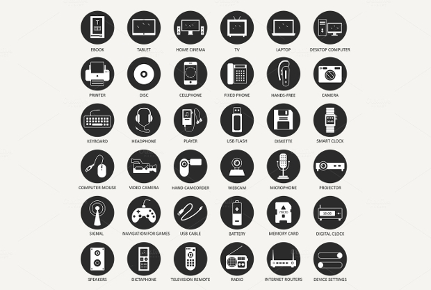 multimedia devices icon set