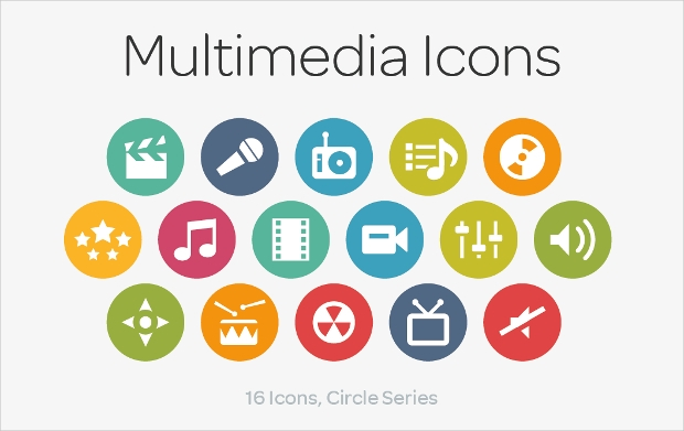 multimedia circle icons