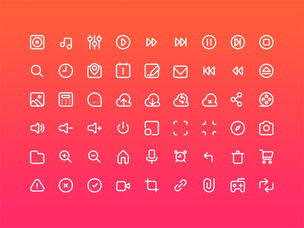 multimedia glyphs icons