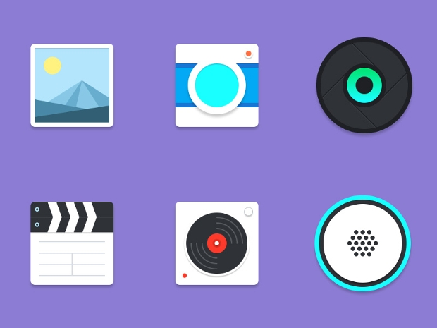 material multimedia icons