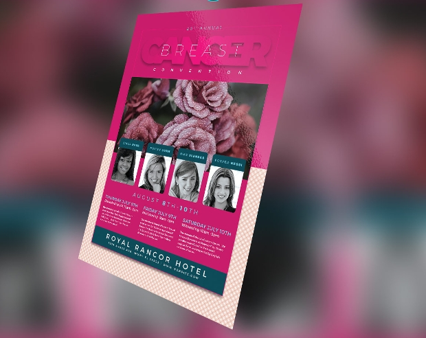 editable breast cancer awareness flyer