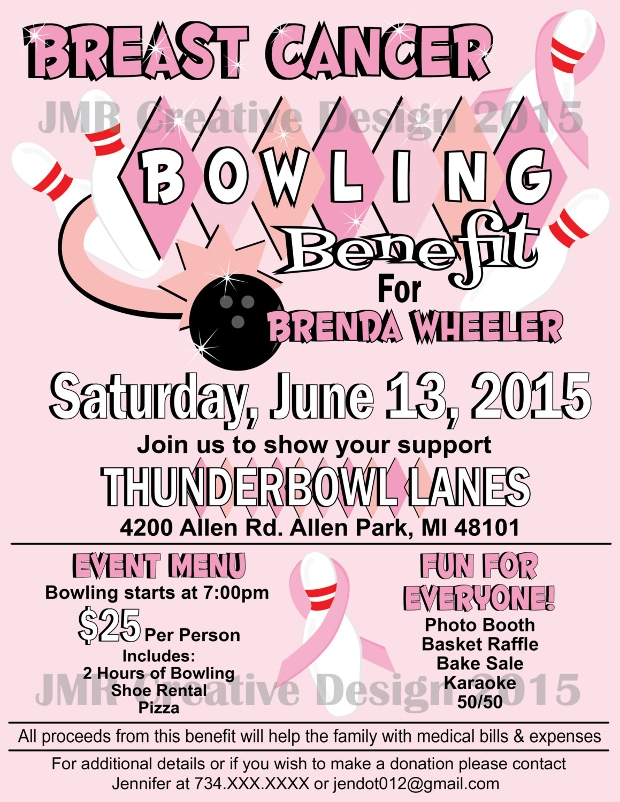 Breast Cancer Bowling Benefit Flyer  Benefit Flyer Templates