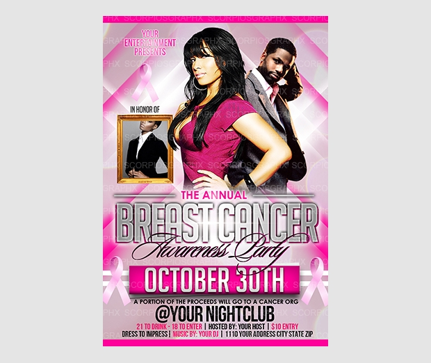 breast cancer awareness party flyer