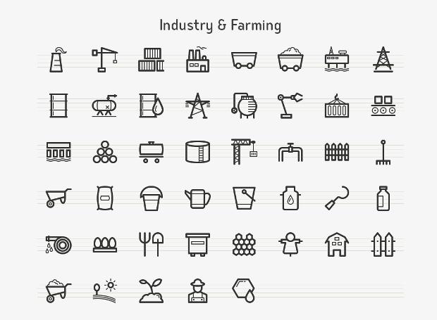 farming line icons