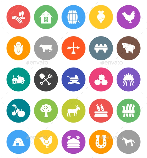 flat rounded farm icons