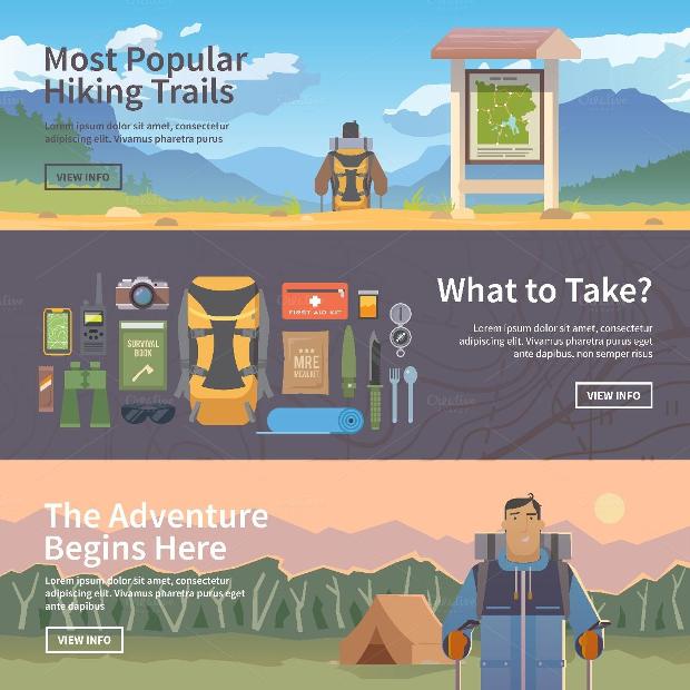 Hiking Flat Web Banners