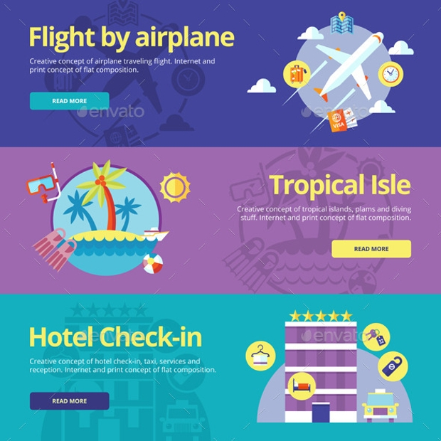 Flat Vector Travel Banners