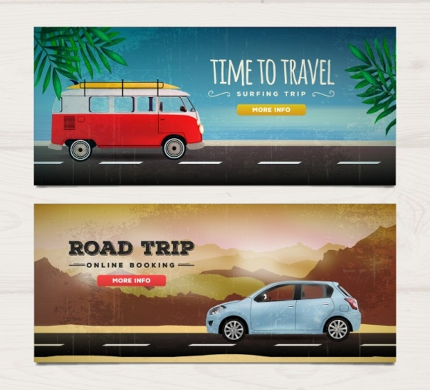 Realistic Travel Banners