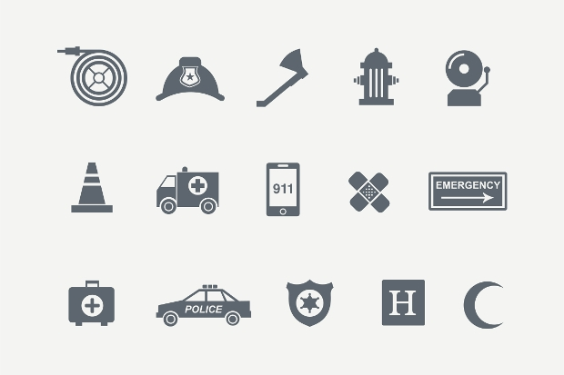 Simple and Stylish Emergency Icons