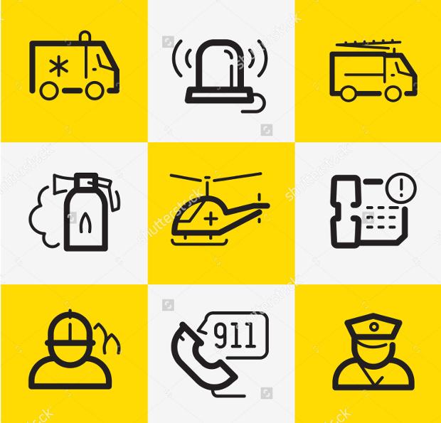 Vector Emergency Icons Set