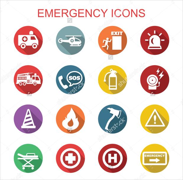 Flat Rounded Emergency Icons