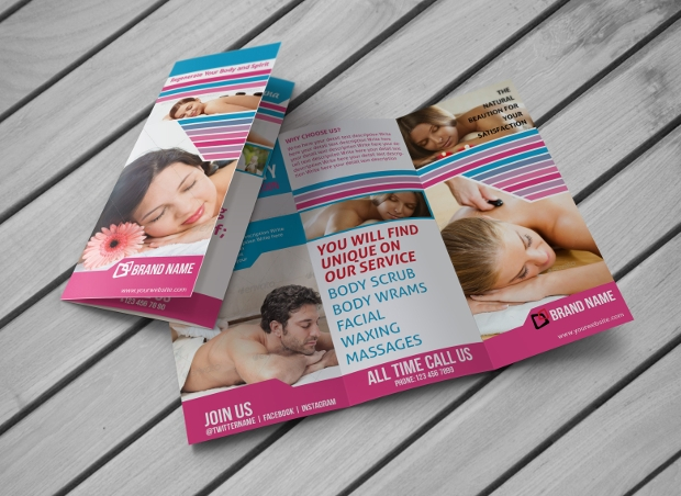 beauty salon tri fold brochure