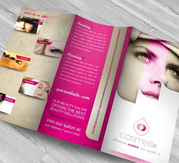 beauty salon trifold brochure design