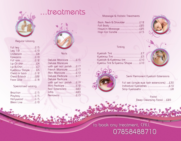 beauty treatment brochure