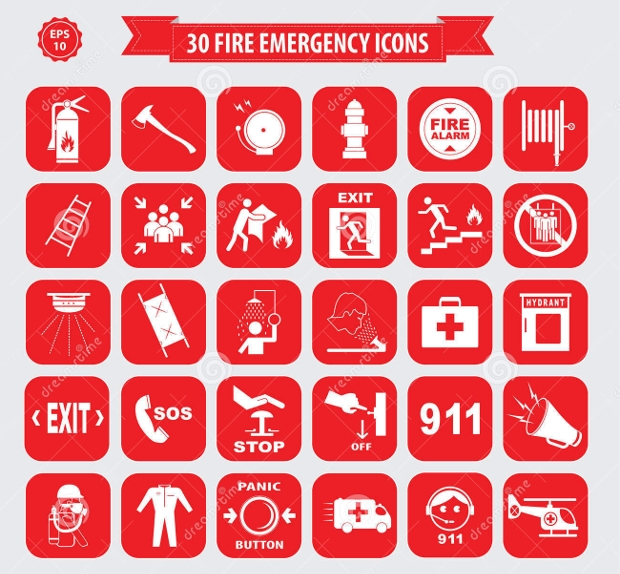 Set of Fire Emergency Icons