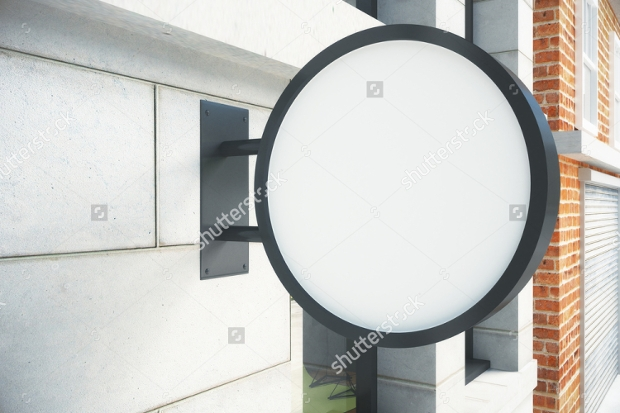 round white signboard mockup