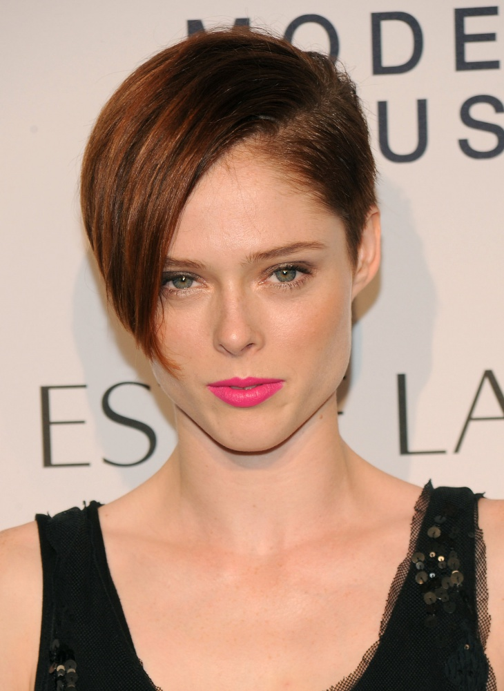 coco rocha asymmetrical pixie hairstyle with bangs