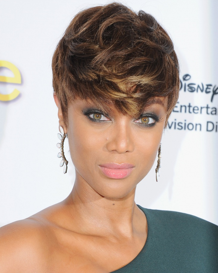 Tyra Banks Messy Pixie Cut with Bangs