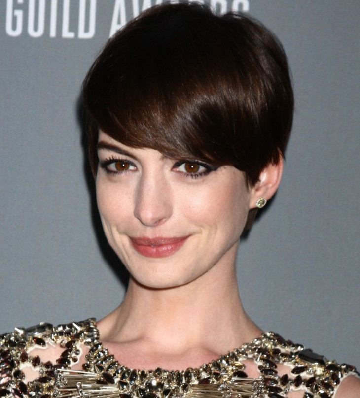 Anne Hathaway Pixie Hairstyle with Heavy Bangs